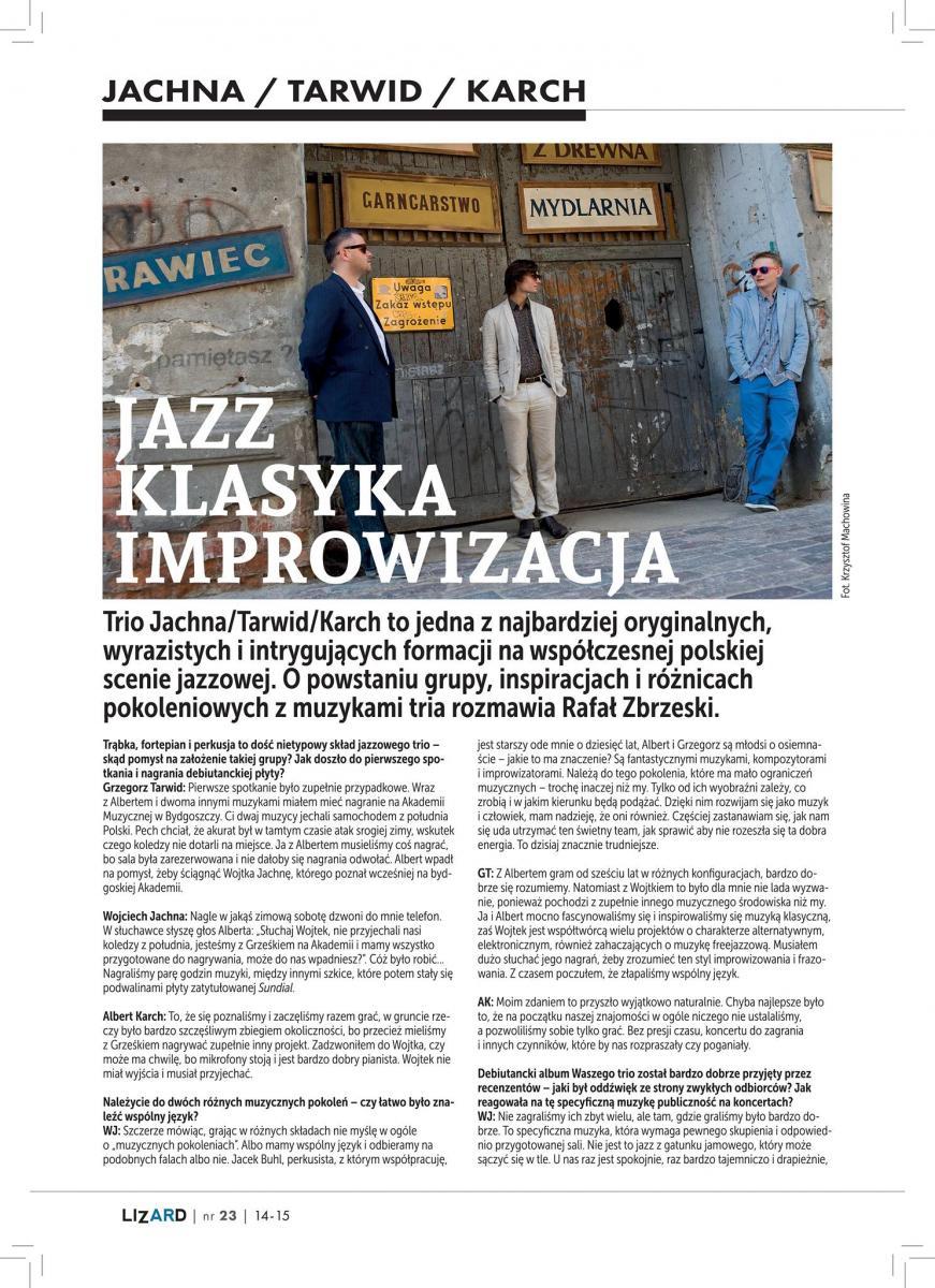 Jachna-Tarwid-Karch - wywiad w czasopiśmie LIZARD